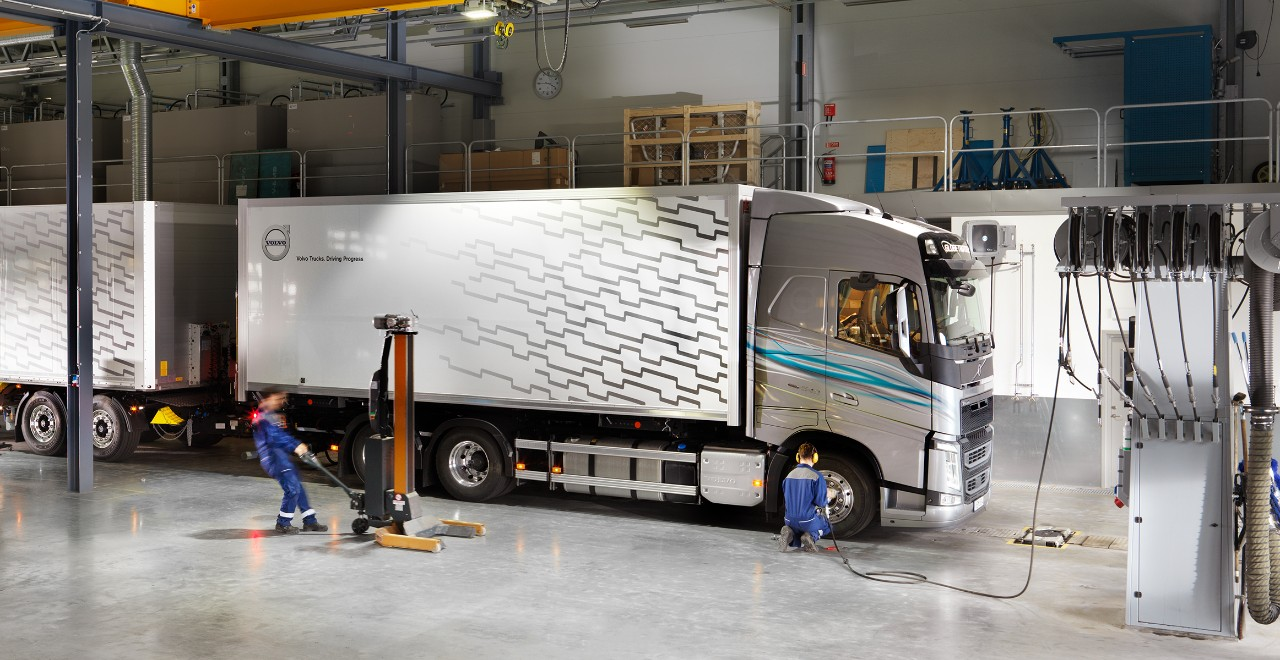 Truck with trailer in workshop